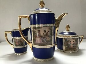 Set Vtg Antique Czech Beehive Mark Figural Cobalt Tea Coffee Pot Creamer Sugar
