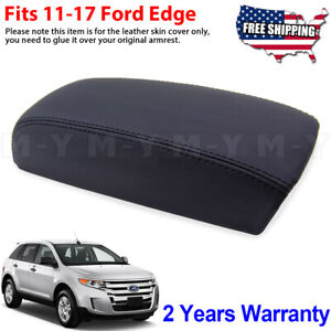 Fits 2011 2017 Ford Edge Leather Center Console Lid Armrest Cover Skin Black
