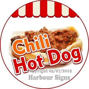 Chili Dog Decal choose Your Size Concession Food Truck Vinyl Circle Sticker