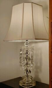 Vintage Crystal Glass Table Lamp W Long Spearhead Prisms White Shade
