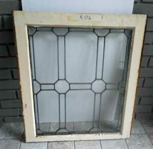 2 Antique Leaded Stained Glass Windows In Orig Frames R102