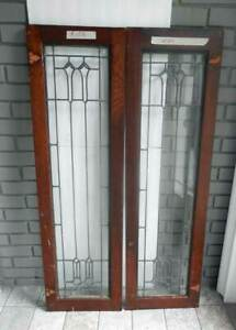 Antique Leaded Stained Pair Glass Window Doors Orig Frame R103