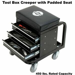 Tool Box Creeper Chest Parts Drawer Seat Rolling Garage Shop Storage 450lb Cap