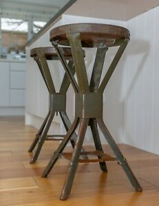 Two 2 Evertaut Machinist Factory Stools Metal Top Industrial Vintage