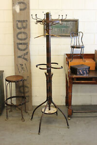 Antique Vintage Copper Flashed Japanned Coat Clothing Coat Rack Hall Tree Stand
