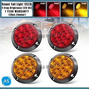 2 Amber 2 Red Surface Mount 12 Led 4 Inch Round Turn Stop Trailer Tail Light 12v