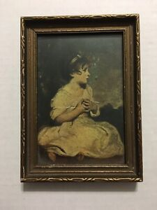 Vintage Wood Picture Frame Victorian Girl