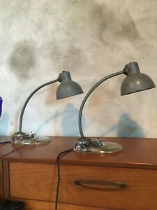 Rare Pair Of Kandem Grey Industrial Work Lamps Table Lamps Marianne Brandt Deco