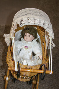 Vintage Doll Carriage Buggy Baby Wicker Rattan Wood Wheels Includes Doll