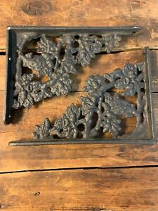 Vintage Antique Cast Iron Shelf Brackets Oak Acorn Leaf Pattern 6 5 4 5 Inches