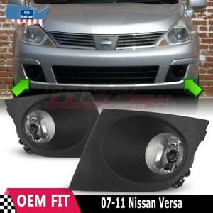 For Nissan Versa 07 11 Factory Bumper Replacement Fit Fog Lights Clear Lens
