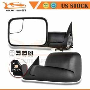 For 98 01 Dodge Ram 1500 98 02 2500 3500 Pair Fold Power Heated Tow Mirrors