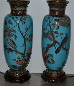Pair Very Large Antique Japanese Cloisonne Vases Electrofied Lamps Birds