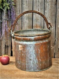 Antique Primitive Copper Pot Cauldron Kettle Planter Best Aged Patina Planter