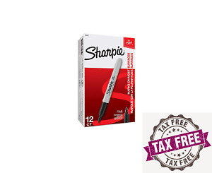 Sharpie Fine Point Permanent Markers Black Color Box Of 12 Count