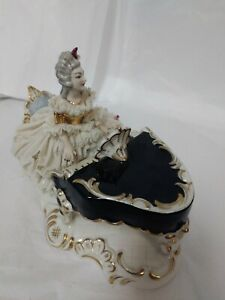 Antique German Porcelain Figurine Lady Playing A Piano Dresden Lace 1703