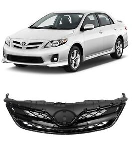 Fit For 2011 2013 Toyota Corolla Front Bumper Grill Grille Gloss Black 11 12 13