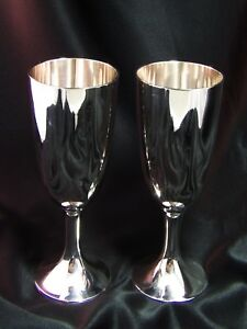 Silver Plate Wine Water Goblets Pair Of Heavy 7 25 Epns Marked Boe