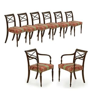 Eight Dining Chairs Antique English Regency Carved Mahogany Dining Set C 1810