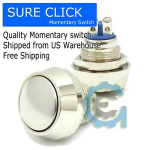 12mm Starter Switch Boat Horn Momentary Push Button Stainless Steel Metal