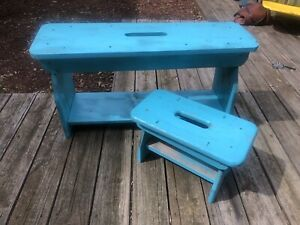 2 Pc Vintage Bench Old Dry Turquoise Blue Paint Handmade Matching Foot Stool