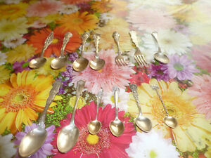 Lot Of 13 Sterling Silver Souvenir Spoons And Forks 245 8 Total Grams 8 67 Oz