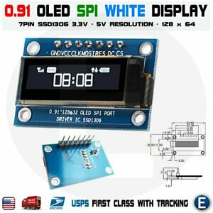 7pin Spi 0 91 Inch White 128x32 Oled Lcd Display Screen Ssd1306 For Arduino R3