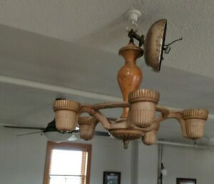 Rare Vtg 5 Arm Chandelier Ceiling Hanging Light Fixture Cast Iron Wood