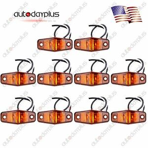 10x Amber Led Light Surface Mount Clearance Side Marker For Semi Truck Trailer