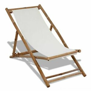 Deck Chair Bamboo And Canvas A9j4