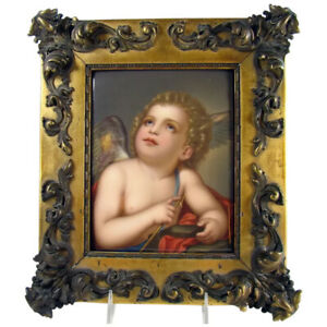 Large Hand Painted German Porcelain Plaque Kpm 1880 S