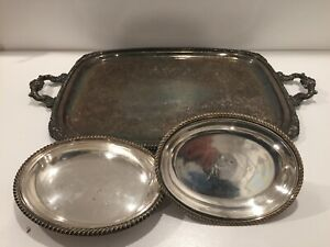 Victorian Silver On Copper Serving Tray 21 5 X 16 Serving Dish Estate Find