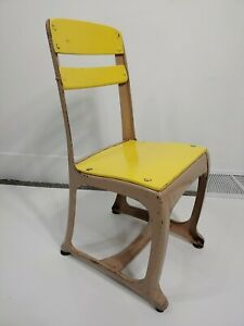 Early American Vintage School Chair 13 Youth Kids Midcentury Rustic Wood Yellow