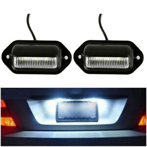 2x Universal 6 Led License Plate Light 12v Super Bright For Truck Suv Trailers