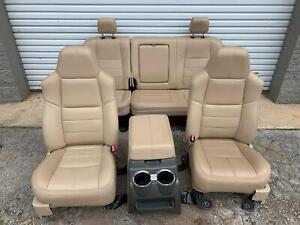 99 10 Ford F250 F350 Super Duty Front Rear Leather Seat W Console Set Tan Oem