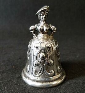 Antique Continental Sterling Silver Figural Service Servant Maid Bell Hallmarked