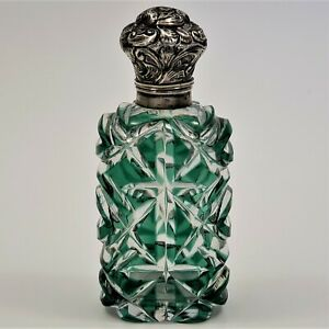 Antique Victorian Perfume Scent Bottle Green Cut To Clear Overlay Silver Cap