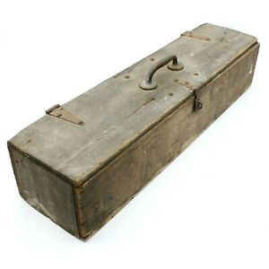 36 Antique Wooden Carpenters Toolbox Primitive Carrying Vintage Tote Wood Trunk