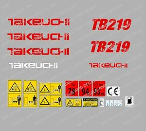 Takeuchi Tb219 Mini Digger Decal Sticker Set With Safety Warning Signs