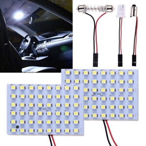 2x 12volt Car 48smd Led Panel Light T10 Festoon Ba9s Dome Map Interior Lamp Bulb