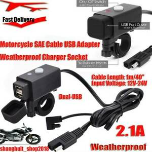 2 1a Motorcycle Sae Cable Usb Adapter Weatherproof Charger Socket Battery Tender
