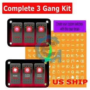 3 Gang Waterproof Usb Toggle Automotive Switch Panel Decal Red Led Car Suv Truck