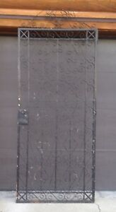 Vintage Wrought Iron Metal Fence Gate Door Panel Window Guard Grille Yard Art