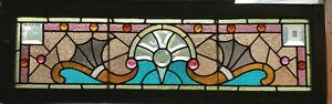 Great Victorian Stained Beveled Glass Transom Window
