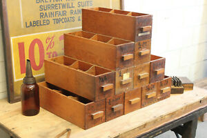 Vintage Antique Industrial Wood Drawers Hardware Store Parts Cabinet Box Crate