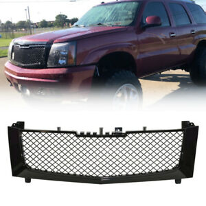Cadillac Escalade Glossy Black Mesh Front Hood Bumper Grill Grille Fit 2002 2006