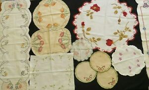 18 Pc Antique Linen Lot Table Doilies Runners Napkins Hand Embroidered Crafts