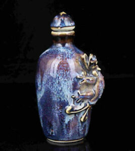 China Collectible Hand Carved Lizard Statue Jingdezhen Porcelain Snuff Bottle