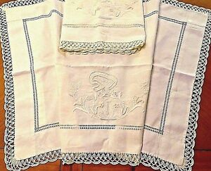 Vintage Pillowcases Italian Embroidered Pillow Cover Shams Sogni Felici Cotton