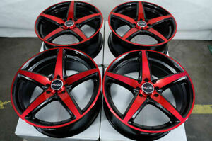 17 Wheels Honda Accord Civic Cobalt Miata Cooper Scion Iq Xb Xa Black Red Rims